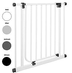 IMPAG Schutzgitter EASY STEP | 62 bis 222 cm | Treppenschutzgitter| Türschutzgitter |Absperrgitter |Klemmgitter | ohne Bohren | Automatik-Tür | 90° Feststell-Funktion | Öffnet in Laufrichtung