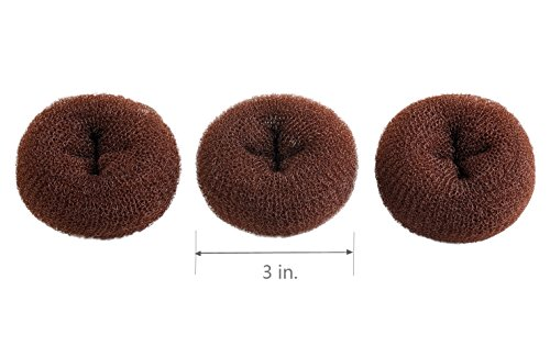 CLOTHOBEAUTY 3 pieces Small Size Kids/Children Hair Bun Donut Maker, Hair Doughnut Shaper, Chignon Hair Donut Buns Maker, Hair Bun maker (3 in. ) (Brown)