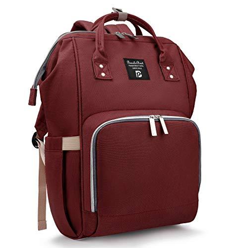 Baby Wickelrucksack Wickeltasche mit Wickelunterlage Multifunktional Oxford Große Kapazität Babyrucksack Kein Formaldehyd Reiserucksack für Unterwegs (Rot)