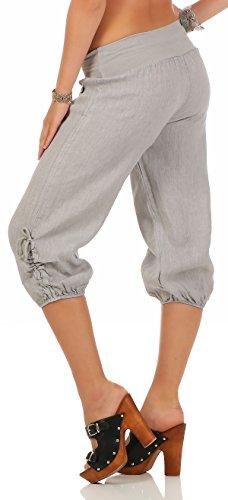malito Damen Capri Hose aus Leinen | Stoffhose in Unifarben | Freizeithose für den Strand | Chino