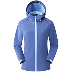 Eono Essentials - Chaqueta de senderismo de entretiempo con capucha para mujer, L (azul)