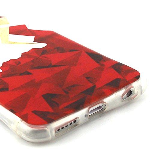 iPhone 6/6S 4.7 Custodia Back cover, Ukayfe personalizzata marche popolari dipinte Bumper Cover morbida flessibile estremamente sottile pelle antigraffio Silicone Protettivo Skin Protettiva Shell Case vestito rosso origami