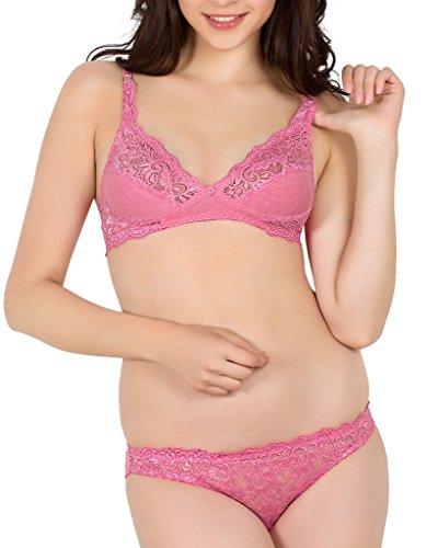 SIMONI Women's Cotton Lingerie Set, Pink