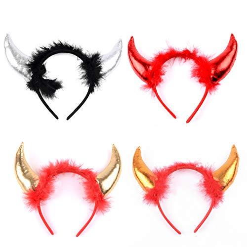 ZOYLINK 4 StÜcke Halloween Stirnband Dekorative Böse Horn Kostüm Stirnband Party Haarband