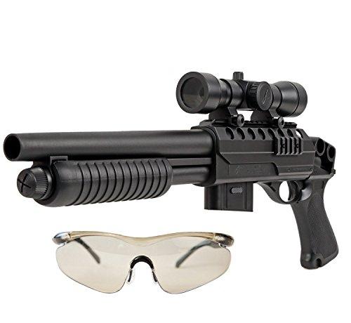 Airsoft Softair Gewehr Pumpgun Red Dot Visier Schutzbrille Munition Speedloader Hop Up 50 Meter Reichweite unter 0,5 Joule ab 14 Jahre - Gun Shotgun Pump Air
