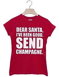 Batch1 'Dear Santa Send Champagne' Women's Christmas Slogan T-Shirt - Xmas Top