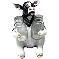 Cow Glass Salt and Pepper Shaker Set with Holder Figurine in Tabletop Country Kitchen Decor or Decorative Farm Animal Collectible Sculptures As Spice Racks and Rustic Gifts for Farmers by bombayjewel