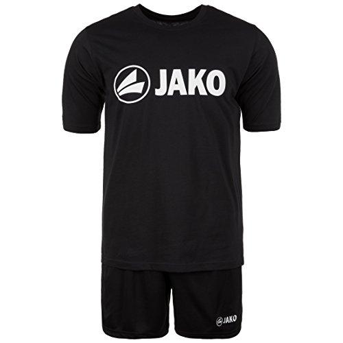 JAKO JAKO Trainings-Set kurz | 2er-Set mit Shirt und Shorts | Performance Sport-Bekleidung aus Funktionsmaterial | 5 wählbare Farben für Herren und Damen | Fußball-Trikot, Trainings-Hose schwarz, S