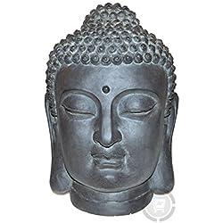 Stone-Lite Figura para jardín - Cabeza de Buda - Resistente a la lluvia y a las heladas - Negro - 42 cm