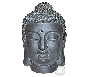 Stone-Lite - Testa di Buddha - Statuetta per giardino - 42 cm - nero - resiste a pioggia e a gelo