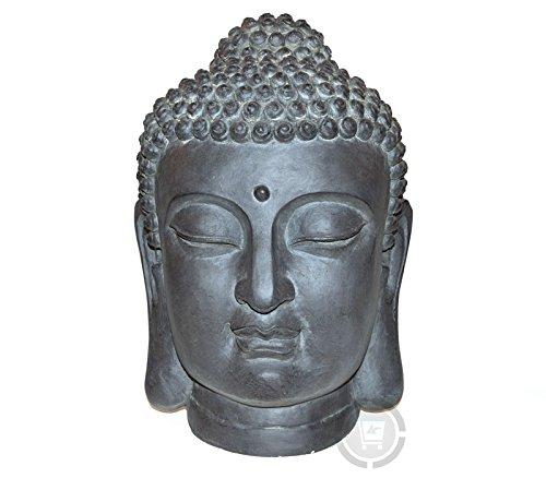 Stone-Lite Figura para jardín – Cabeza de Buda – Resistente a la lluvia y a las heladas – Negro – 42 cm
