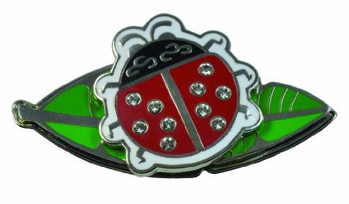 Navika - golf indicatore della sfera di cristalli Swarovski, disegnato da coccinella su una foglia