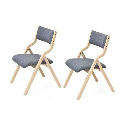 Wgxx sedie pieghevoli sedia pieghevole in legno semplice cuscino in tessuto morbido sedia da scrivania con schienale, confezione da 2 (colore : gray)