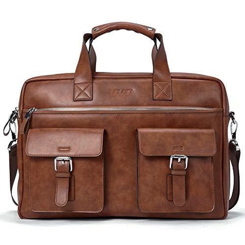 Leder Männer Aktentasche für 15,6 Zoll Laptop Businesstasch Slim Aktenkoffer Vintage Arbeitstasche Braun -
