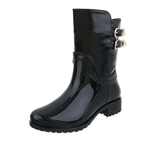 Gummistiefel Gummi Kinder-Schuhe Gummistiefel Blockabsatz Mädchen Reißverschluss Ital-Design Stiefel Schwarz, Gr 30, (Kinder Schwarze Stiefel Für)