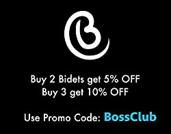 BOSS BIDET LUXURY Toilet Seat Attachment | Fresh Water Sprayer | Cleans Your Rear Better Than You Can | Dual Nozzle | Self Cleaning | Manual | Non Electric | Luxury White & Black | 1 Year Warranty