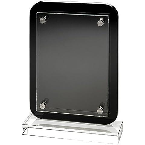 Madera de color negro placa trofeo–montaje en placa de madera con extraíble de cristal frontal, 19,7