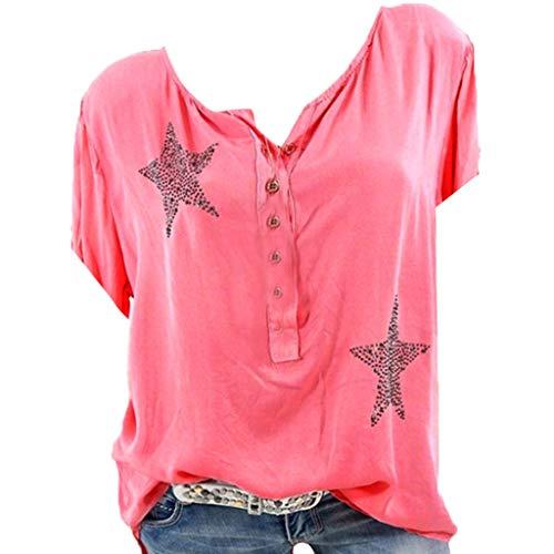 Routinfly 2019 Neu Damen fünfzackigen Stern Button Tops,Frauen Sommer Mode Lässig Lose Bohrer Plus Größe T-Shirts Tops Tunika Hemden Bluse Kurzarm T (Hemdchen Größe Plus Lange)