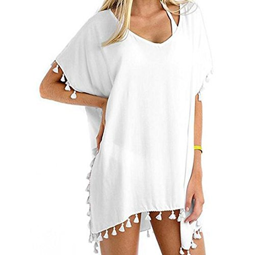 TWIFER Damen Chiffon Badeanzug Cover Up Bademode Beachwear Frauen Bikini Smock Lose Strand Vertuschung Kleid (Freie Größe, Weiß)