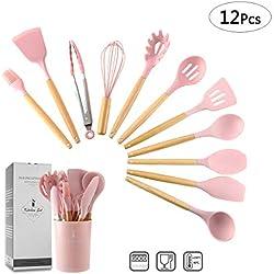 ZCOINS Ensemble d'ustensiles de cuisine en silicone 11 + 1 pièces avec poignées en bois et support (rose)