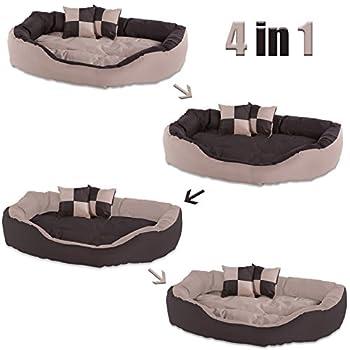 dibea Lit/Coussin/Canapé Lavable avec Coussin Réversible pour Chien Marron/Beige 85 x 70 x 20 cm