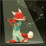 Posterlounge Leinwandbild 120 x 120 cm: Fuchs mit Querflöte von Kidz Collection/Editors Choice - fertiges Wandbild, Bild auf Keilrahmen, Fertigbild auf echter Leinwand, Leinwanddruck