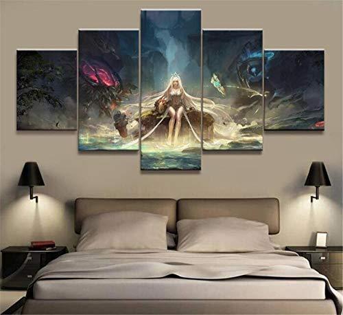 Leinwanddrucke 5 Panels League of Legends Cassiopeia Spiel Leinwanddruck Malerei Für Zimmer Hd Wandkunst Dekoration [A] Frameless