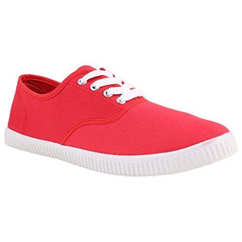 Unisex Basic Sneaker   Damen Sneakers   Herren Sneaker Low   Freizeit Turnschuhe Stoff   Schnürschuhe Rot Red