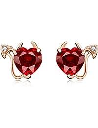 TRENDWERT Herz-Ohrstecker-Ohrring im Teufelchen Design mit rotem Zirkonia  Herzchen und weißem Zirkonia aus 925… 6729cdddda
