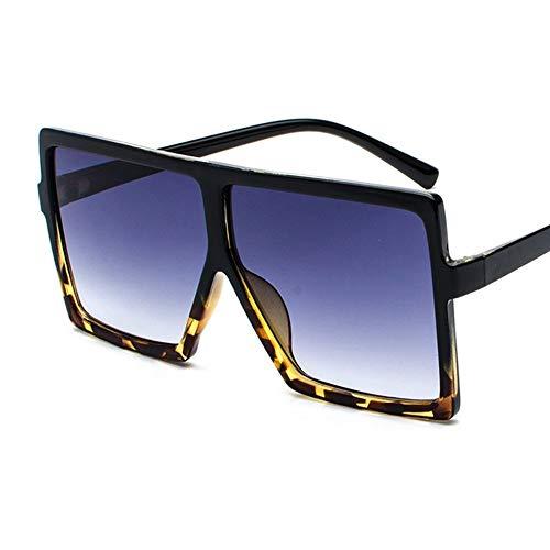 QDE Sonnenbrillen Oversized Sunglasses Women Retro Gradient Sun Glasses Men Vintage Shades Eyewear Big Frame Glasses,Leopard
