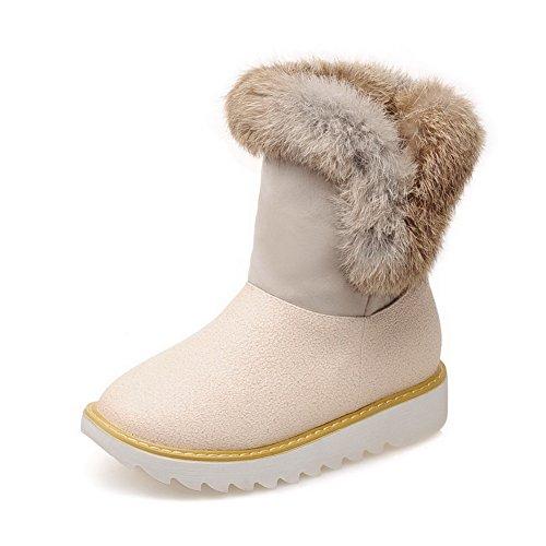 AgooLar Damen Niedriger Absatz Mattglasbirne Niedrig-Spitze Gemischte Farbe Stiefel Cremefarben
