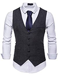 JOLIME Gilet Costume sans Manches Homme Vintage Tweed Slim Fit Casual Business Mariage