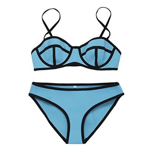 PRIDE S Mode Badeanzug Mehrfarbige Neopren Bikini Split Bikini Spa Badeanzug  Strand Bademode Blau