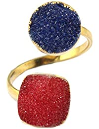 Zeva Jewels Gift For Friend Natural Red Blue Druzy 24k Gold Plated Adjustable Ring For Women/Girls