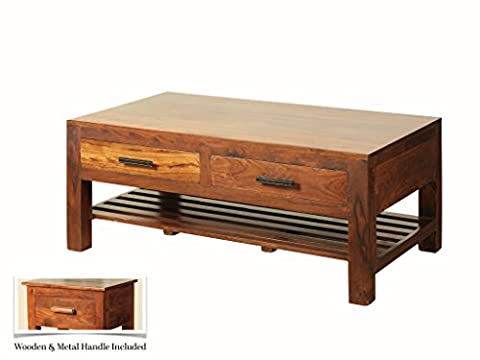 Sheesham Indian Rosewood Storage Coffee Table - Thakat 2 Drawer Coffee Table with Undershelf - Finish : Mid Brown Sheesham - Living room Furniture