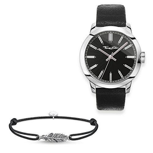 Thomas Sabo Men Men's Watch Rebel at Heart with Little Secret Feather 925 Sterling Silver, Blackened, Stainless Steel; Leather Black Leather Strap in Vintage Look SET0517-622-11