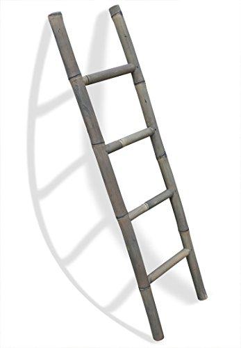 LioLiving®, Handtuchhalter / Dekoleiter aus Bambus (Einfachleiter, grau) (#400125)