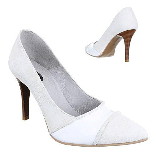 Ital-Design - Scarpe con Tacco Donna Bianco (Bianco/Grigio)