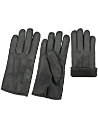 Men's Leather Winter Gloves Classic Genuine Leather With Fleece Lining