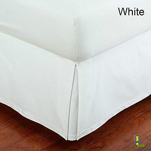 1000TC plissé 100% coton égyptien Finition élégante 1Boîte Cache-sommier massif (Longueur: 25,4cm), Coton, White Solid, EU_Double