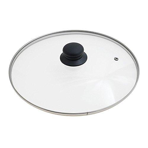 Oryx 5023430 - Tapadera de cristal para sartén, 28cm, borde acero inoxidable, transparentes