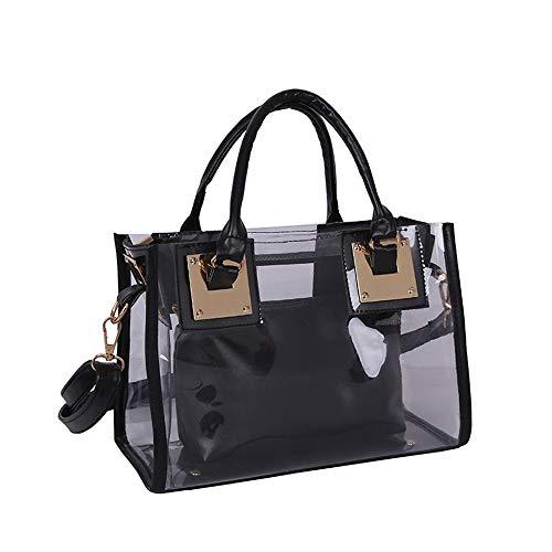 AlwaySky Damenmode Transparente Tasche 2 in 1 Handtasche Top Griff Tote Schulter Crossbody Tasche Schwarz Black Transparent Tasche