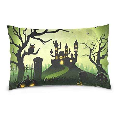 Colourlife rettangolo federa cuscino con zip, cuscino in cotone zucche di halloween castello e spaventoso copre protettori per home auto decorazione 40,6x 61cm 20x26 inch multi