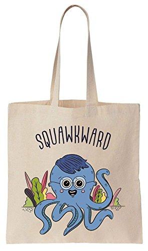 Squawkward Awkward Squid With Oversized Glasses Tote Bag Baumwoll Segeltuch Einkaufstasche (Baumwolle Oversized Tote)