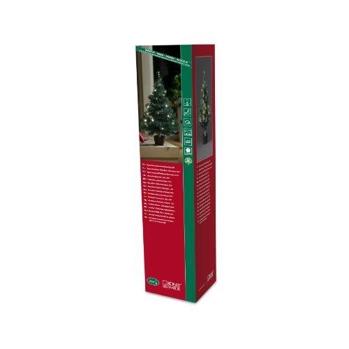 Konstsmide 3512-100 / Albero di natale LED 60cm con vaso e catena di luci / 24 diodi bianco caldi / a batteria / cavo verde