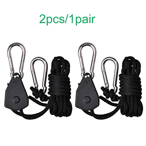 Niello 1/8 Zoll Rope Hangers Grow Lamp YoYo Hangers 2.8cm Heavy Duty Adjustable Rope Clip Hanger Fully Locking for Grow Light Fixture,Carbon Filters,Ventilation Equipment Pulley System (Pack of 2) -