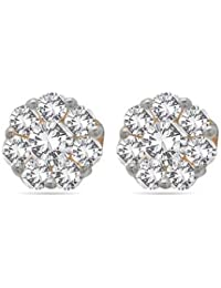 Voylla Precious 925 Sterling Silver With Gold Plating Plated Swarovski Zirconia Earrings For Women