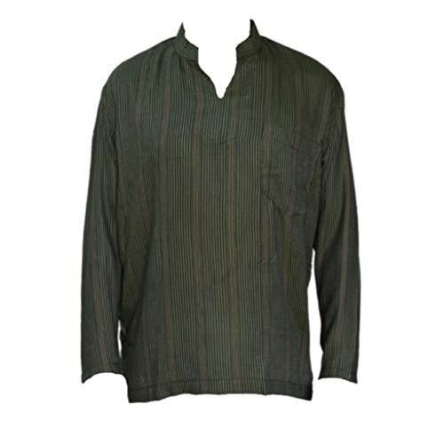 rman Hemd Größen S bis XL Baumwolle (grün gestreift, XL) ()