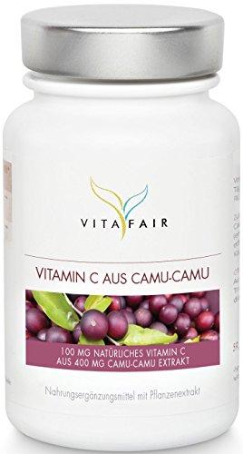 Natürliches Vitamin C - 100 mg | Aus Camu Camu 400 mg | 120 Kapseln | Hochdosiertes Superfood | Ohne Magnesiumsalze | Vegan | Made in Germany