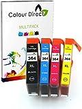 4 X Colour Direct Compatible Ink Cartridges Replacement For HP 364XL - Photosmart 5510, 5511, 5512, 5514, 5515, 5520, 5522, 5524, 6510, 6512, 6515, 6520, 7515, B010a, B109a, B109d, B109f, B109n, B110a, B110c, B110e, HP Photosmart Plus B209a, B209c, B210a, B210c, B210d, HP Deskjet 3070A, 3520, 3522, 3524, Officejet 4610, 4620 - 1 Black (550 Pages) 1 Cyan 1 Magenta 1 Yellow